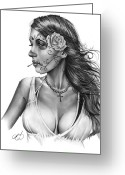 Day Drawings Greeting Cards - Dia De Los Muertos 1 Greeting Card by Pete Tapang