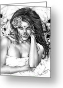 Black And White Greeting Cards - Dia De Los Muertos 2 Greeting Card by Pete Tapang