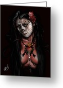 Black And White Greeting Cards - Dia De Los Muertos 3 Greeting Card by Pete Tapang