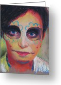 Clowns Portrait Greeting Cards - Dia De Los Muertos Greeting Card by Billie Colson