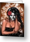 Pinup Greeting Cards - Dia de los Muertos Remix Greeting Card by Pete Tapang