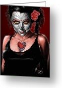 Day Drawings Greeting Cards - Dia de los muertos The Vapors Greeting Card by Pete Tapang