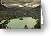 Harsh Greeting Cards - Diablo Lake - Le grand seigneur of North Cascades National Park WA USA Greeting Card by Christine Till