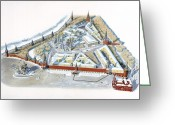 Diagrams Greeting Cards - Diagram Of The Kremlin, Moscow Greeting Card by Terry W. Rutledge