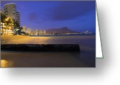 Diamond Head Greeting Cards - Diamond Head at Dusk Greeting Card by Eric Franke