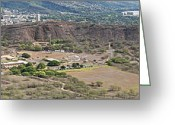Diamond Head Greeting Cards - Diamond Head Crater Greeting Card by Michael Peychich