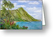 Diamond Head Greeting Cards - Diamond Head in Honolulu Greeting Card by Bonnie Sue Schwartz