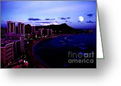 Waikiki Beach Greeting Cards - Diamond Head Moonrise Greeting Card by Thomas R Fletcher