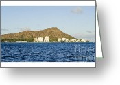 Diamond Head Greeting Cards - Diamond Head Skyline Greeting Card by MaryJane Armstrong