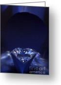 Illuminated Glass Greeting Cards - Diamond in deep-blue light Greeting Card by Atiketta Sangasaeng