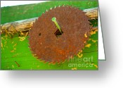 Saw Blade Greeting Cards - Diamond on a nail Greeting Card by Cheryl Young