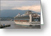 Cruise Ships Greeting Cards - Diamond Princess leaving Vancouver British Columbia Canada Greeting Card by Christine Till