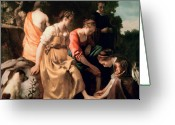 Companions Greeting Cards - Diana and her Companions Greeting Card by Jan Vermeer