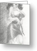Striptease Greeting Cards - Diana Greeting Card by Maurice Dantes