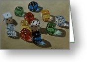 Dice Painting Greeting Cards - Dice Greeting Card by Doug Strickland