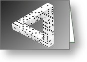 Number Greeting Cards - Dice Illusion Greeting Card by Shane Bechler