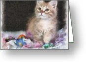 Playful Kitten Greeting Cards - Did Somebody Say Treat Greeting Card by Denise Oldridge