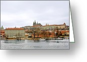River Scenes Greeting Cards - Die Moldau - Prague Greeting Card by Christine Till