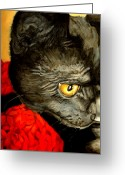 People Portraits Greeting Cards - Diego The Cat Greeting Card by Enzie Shahmiri