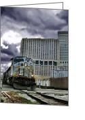 Railroad Track Greeting Cards - Diesel Electric Freight Locomotive in a City Greeting Card by Olivier Le Queinec