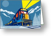 Railroad Tracks Greeting Cards - Diesel train winter Greeting Card by Aloysius Patrimonio