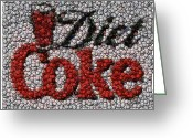 Montage Greeting Cards - Diet Coke Bottle Cap Mosaic Greeting Card by Paul Van Scott