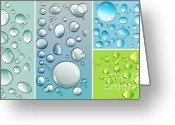 Vector Image Greeting Cards - Different size droplets on colored surface Greeting Card by Sandra Cunningham