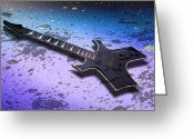 Montage Greeting Cards - Digital-Art E-Guitar II Greeting Card by Melanie Viola
