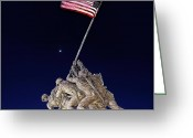 Flag Greeting Cards - Digital Drawing - Iwo Jima Memorial at Dusk Greeting Card by Metro DC Photography