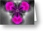 Digital Flower Greeting Cards - Digital Flower Abstract Greeting Card by H G Mielke