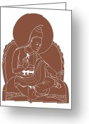 Tibetan Buddhism Greeting Cards - Digital Illustration Of 8th Century Buddhist Monk Padmasambhava Greeting Card by Dorling Kindersley