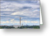 Mall Greeting Cards - Digital Liquid - Clouds Over Washington DC Greeting Card by Metro DC Photography