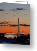 Dome Greeting Cards - Digital Liquid -  Monuments at Sunrise Greeting Card by Metro DC Photography