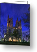 Washington Cathedral Greeting Cards - Digital Liquid - Washington National Cathedral After Sunset Greeting Card by Metro DC Photography