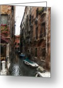 Digital Oil Paining Venice Canal Italy Greeting Cards - Digital Oil Paining Venice Canal Italy Greeting Card by H G Mielke