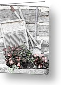 Wash Board Greeting Cards - Digital Sketch Wash Tub and Flowers Greeting Card by Linda Phelps