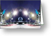 Long Street Greeting Cards - Digitally Composited City Scape With Flare Greeting Card by Thomas Northcut