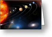 Galaxy Greeting Cards - Digitally Generated Image Of Our Solar Greeting Card by Stocktrek Images