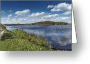Livestock Greeting Cards - Dike Around Botshol Greeting Card by Marijke Mooy Photography