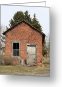 Old Lock Greeting Cards - Dilapidated Old Brick Building Greeting Card by John Stephens