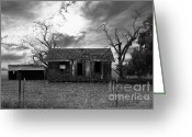 Old Farms Greeting Cards - Dilapidated Old Farm House . 7D10341 . black and white Greeting Card by Wingsdomain Art and Photography