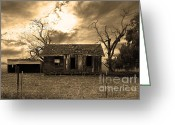 Old Farms Greeting Cards - Dilapidated Old Farm House . 7D10341 . sepia Greeting Card by Wingsdomain Art and Photography