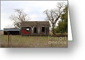 Dilapidated Greeting Cards - Dilapidated Old Farm House . 7D10341 Greeting Card by Wingsdomain Art and Photography