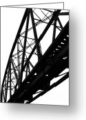 Large Steel Cross Greeting Cards - Dilapidated Railway Bridge Greeting Card by Yali Shi