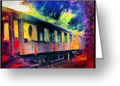 Prestigeclass Greeting Cards - Dilapidated Steam Train Carriage Hiding Greeting Card by Rachel-Avalon Brightside