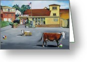 Marin Greeting Cards - Dillion Beach Cows Greeting Card by Kathryn LeMieux