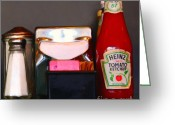 Tomato Digital Art Greeting Cards - Diner Table Condiments and Other Items - 5D18035- Painterly Greeting Card by Wingsdomain Art and Photography