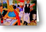 Montmartre Sculpture Greeting Cards - Diners at La Lutetia Greeting Card by Rusty Woodward Gladdish