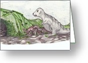Dinosaurs Drawings Greeting Cards - Dingo the Dinosaur Greeting Card by Cheryl Gray