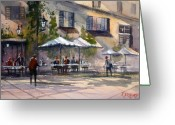 Waiter Greeting Cards - Dining Alfresco Greeting Card by Ryan Radke
